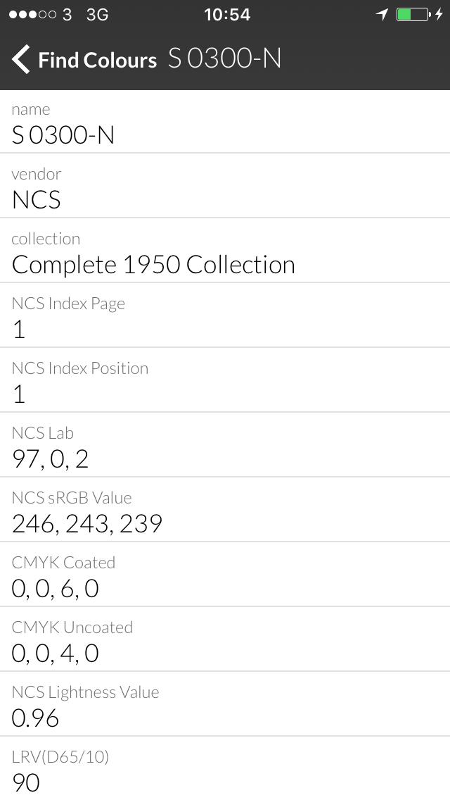 NCS Colourpin II fargeopplysning på skjerm